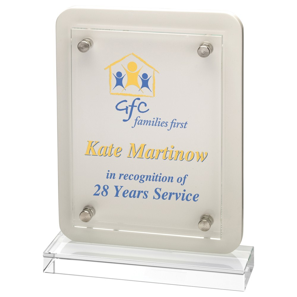 White Wood Plaque With Clear Base  With  Removable Front