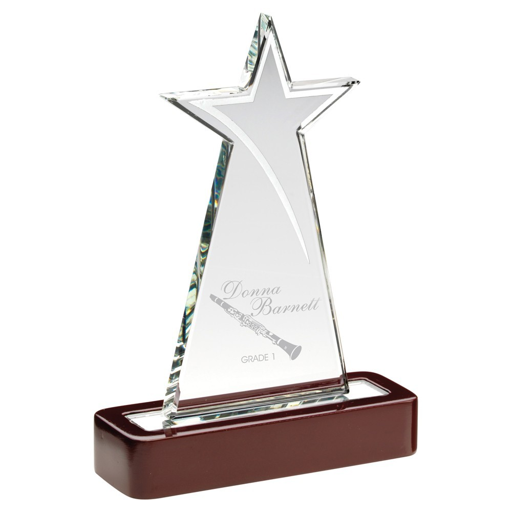 Clear Glass Tall Star With Silver Highlights  With  Wooden Base