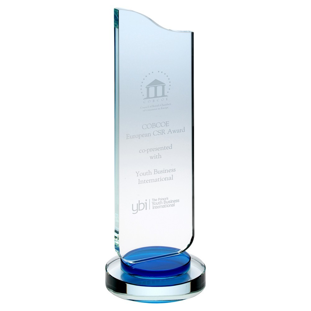Clear Glass Plaque With Blue Collar On Round Base - 9.75inch