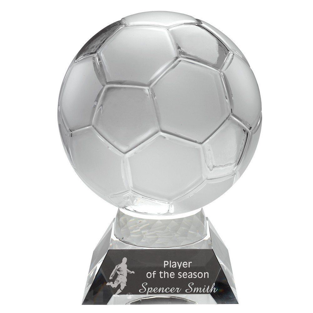 Clear/Frosted Glass Football On Base - 6.5inch