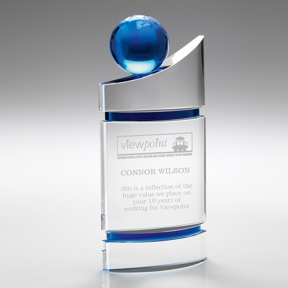 Opulently Shaped Clear-Blue Domed Glass With Blue Globe - Available in 3 Sizes - Engraving On Application Please.