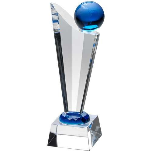20.5cm Clear/Blue Glass Victory Plaque With Blue Globe
