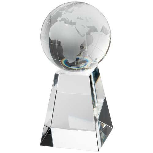 16.5cm Clear Glass Globe On Pyramid Base