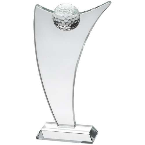 21cm Clear Glass Sail Plaque With Half Golf Ball
