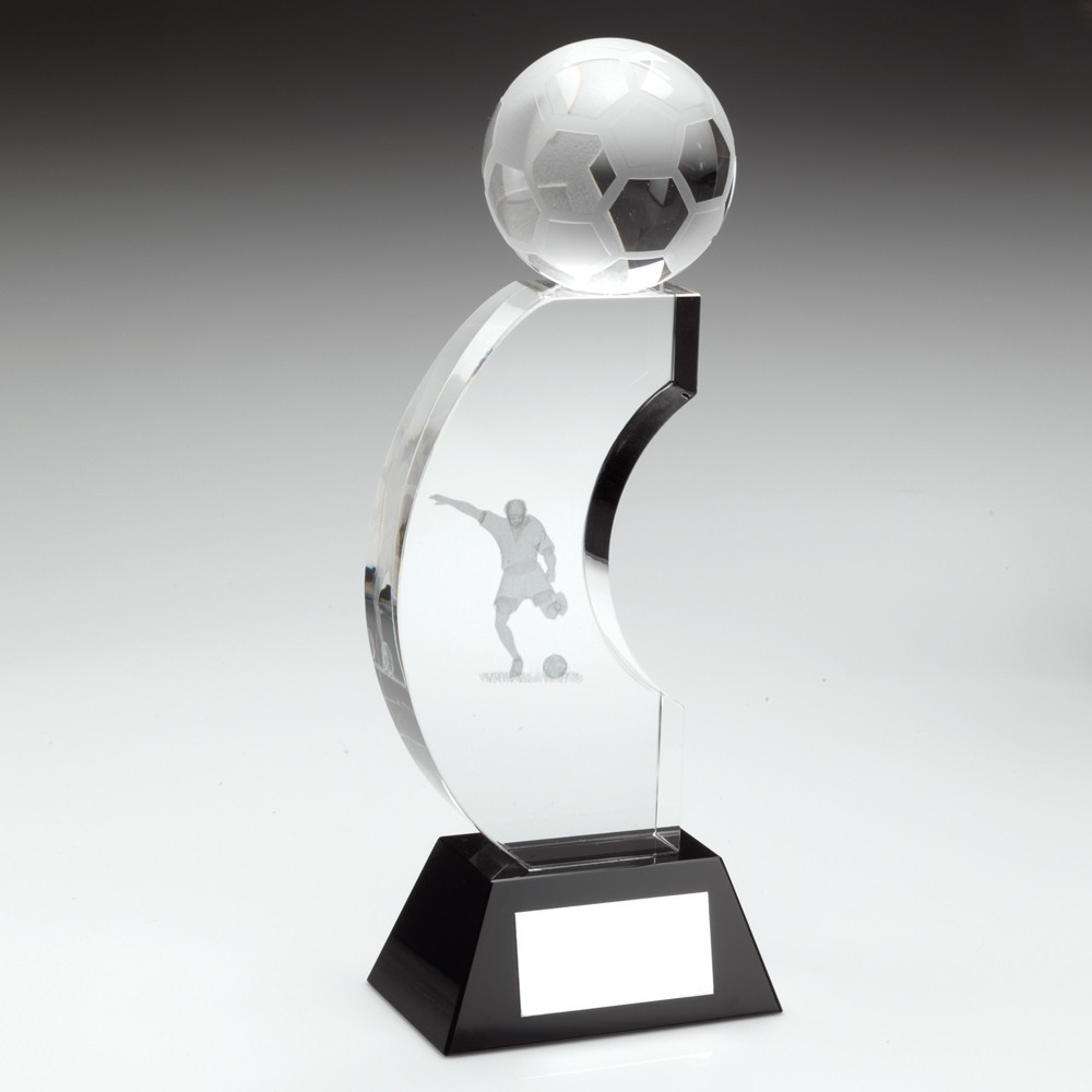 Clear And Black Glass Football Cresent Column Trophy