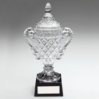 Clear And Black Glass Cup Trophy
