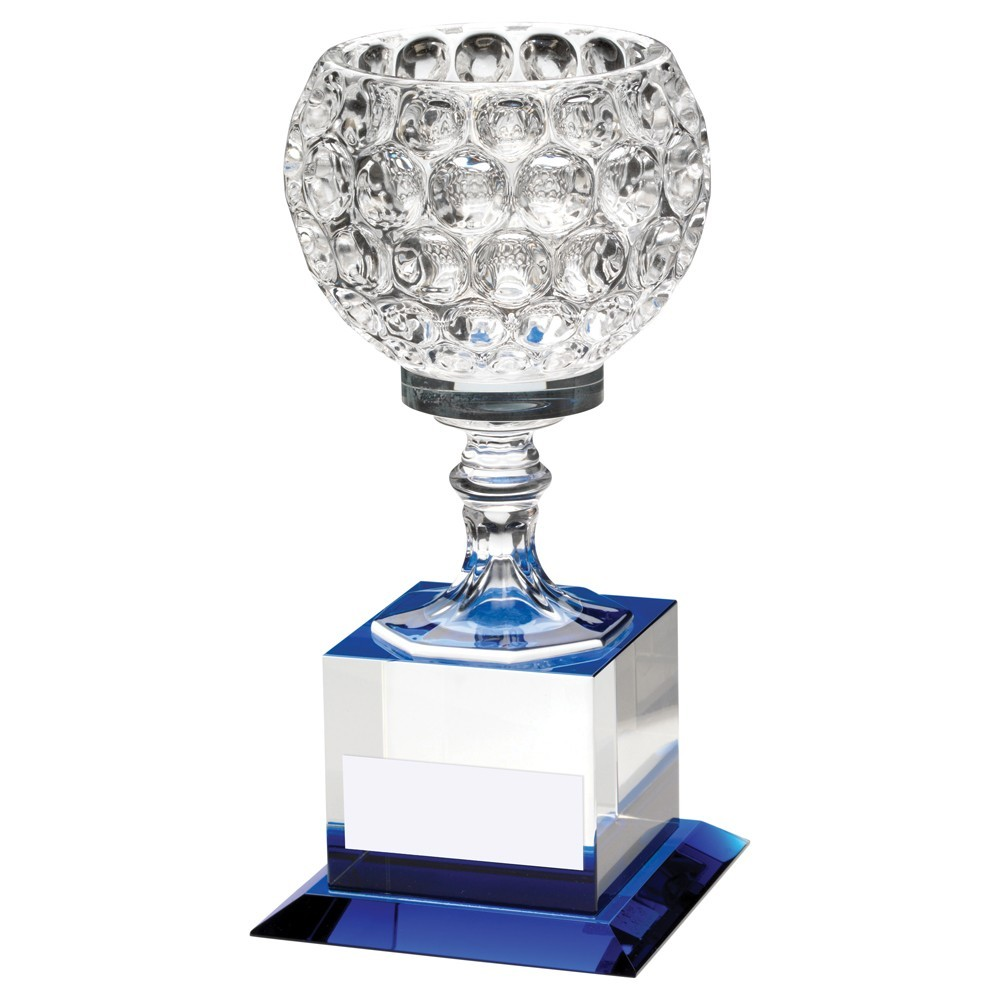 20cm Clear & Blue Glass Goblet On Block Base Trophy - 7.75In