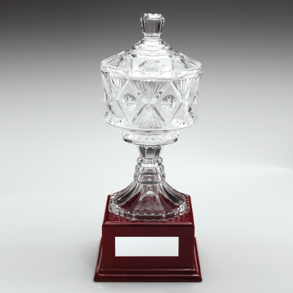 28.5cm Clear Glass Cup On Wood Base Trophy