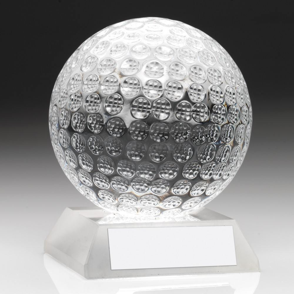 Super Jade Glass 3D Golf ball Award - Available in 2 sizes - Supplied Complete with Presentation Case