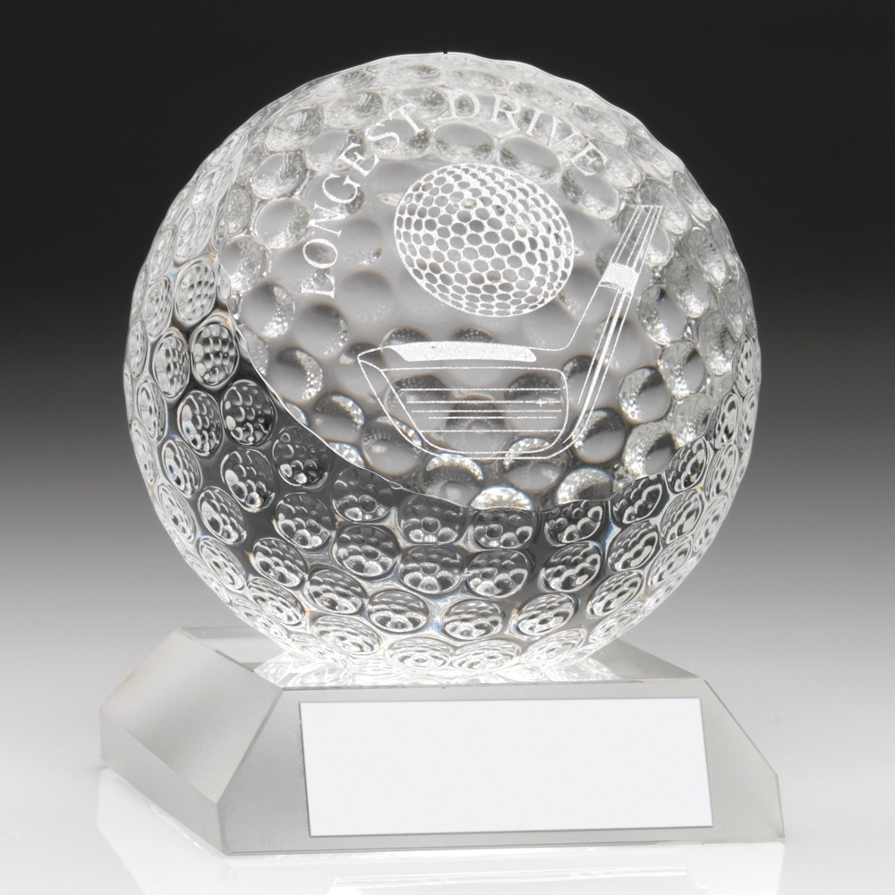 Beautiful Weighty Jade Glass Longest Drive Golf Award - Complete with Quality Presentation Case