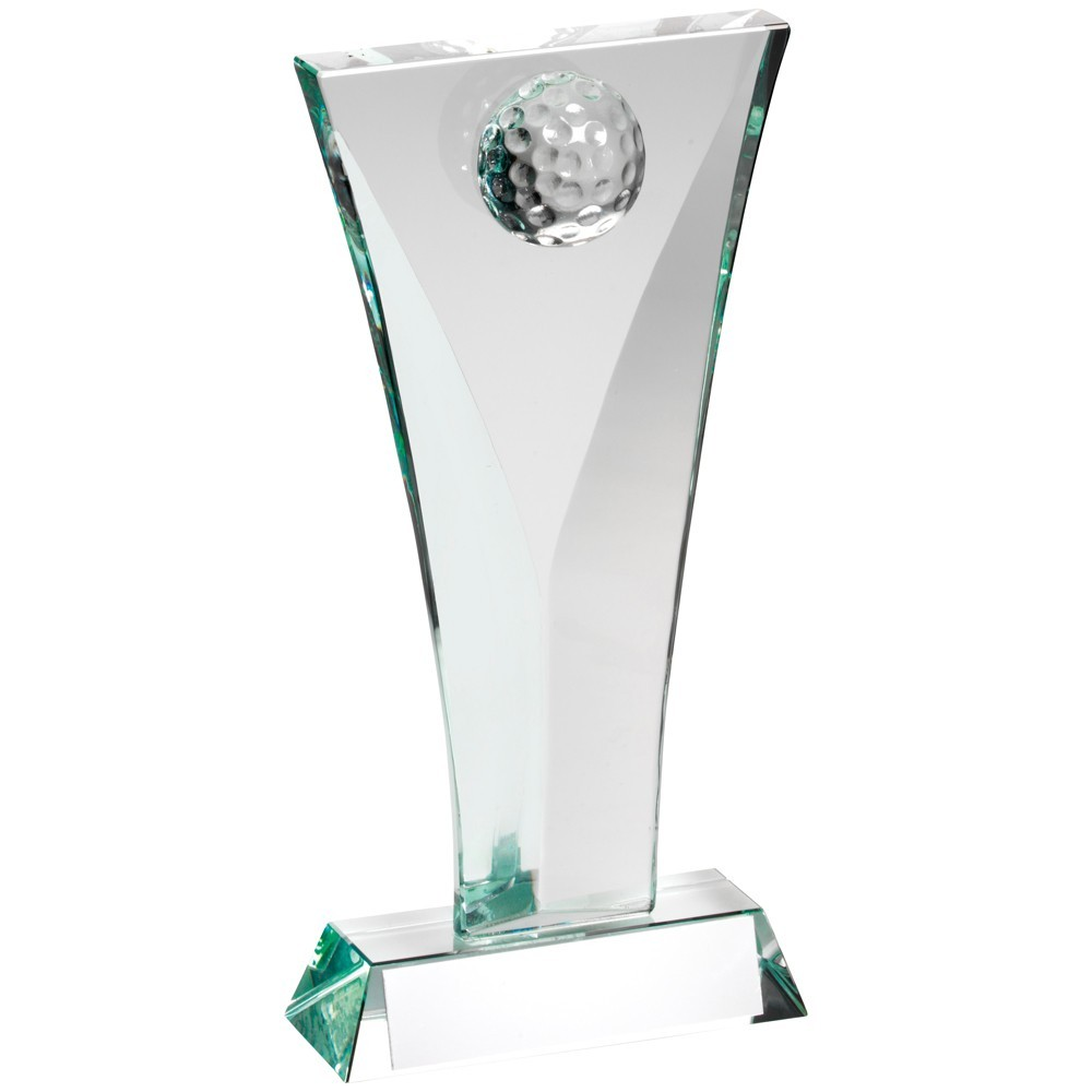 Jade Glass Golf Plaque Trophy