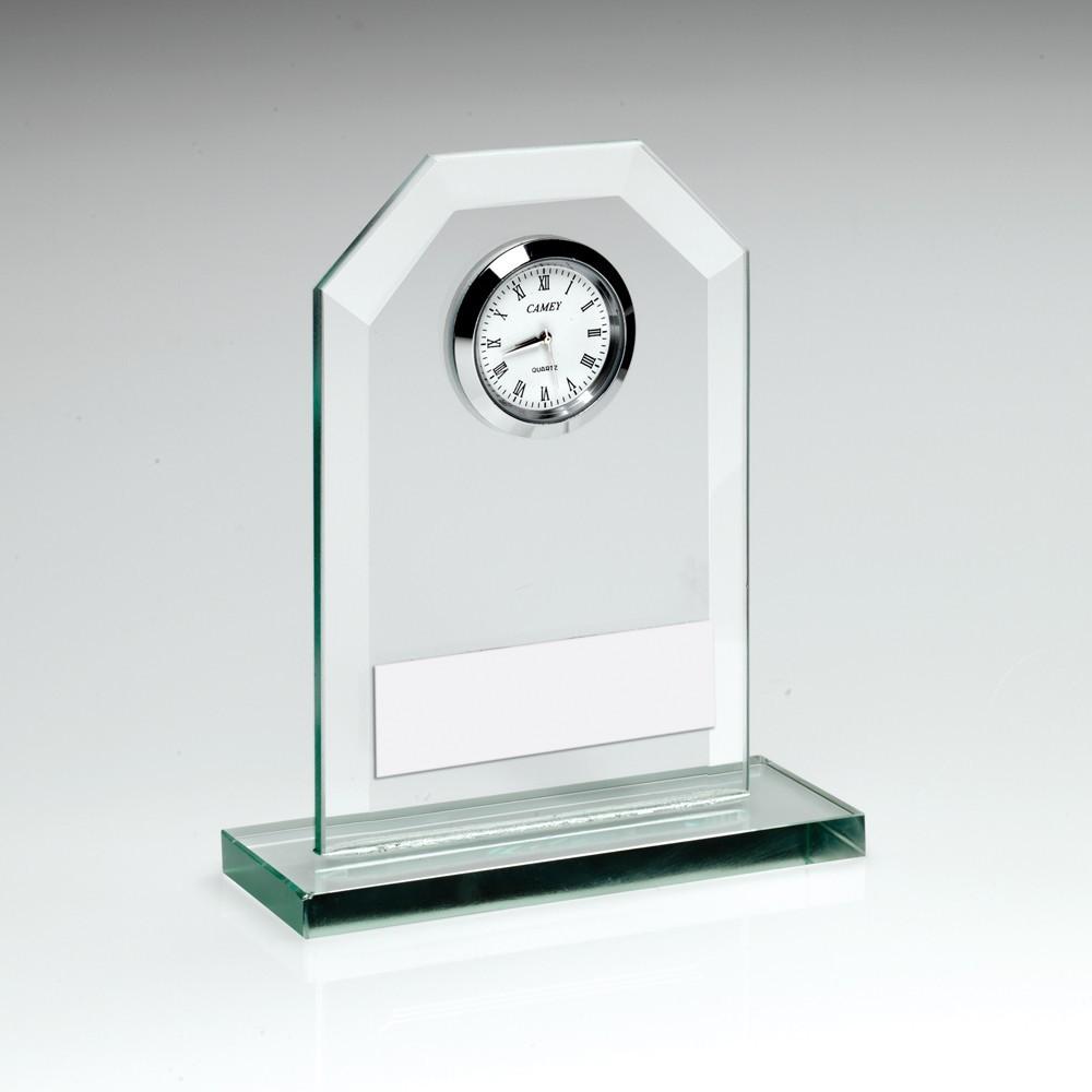 11cm Jade Glass Clock Trophy