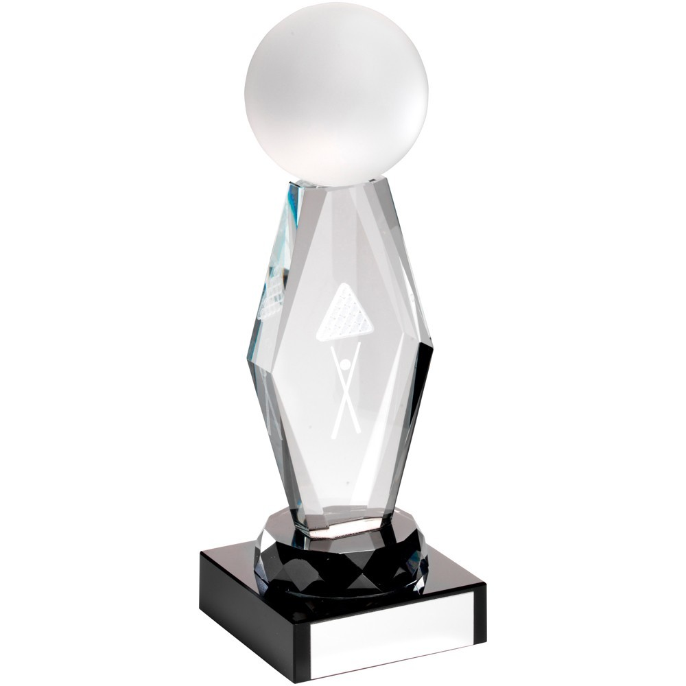 16cm Clear Glass Lasered Pool & Snooker Column On Black Base Trophy - 6.25In