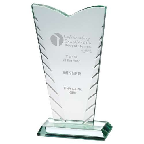 Jade Glass V-Plaque With Patterned Edges (10mm Thick) - Available in 3 Sizes