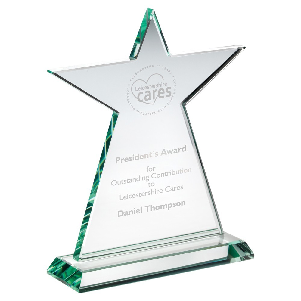 19cm Jade Glass Tall Star Plaque (10mm Thick) - 7.5In