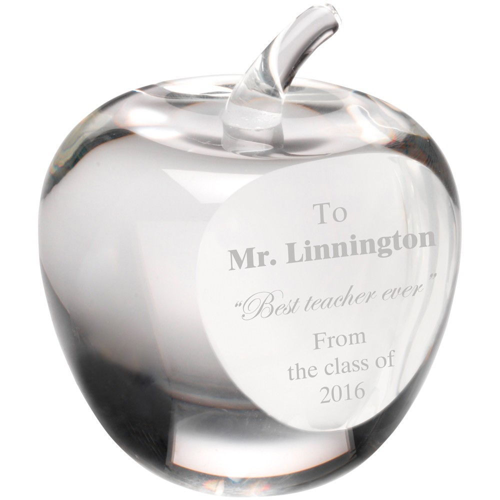 9cm Clear Glass 'Apple' Paperweight With Presentation Case