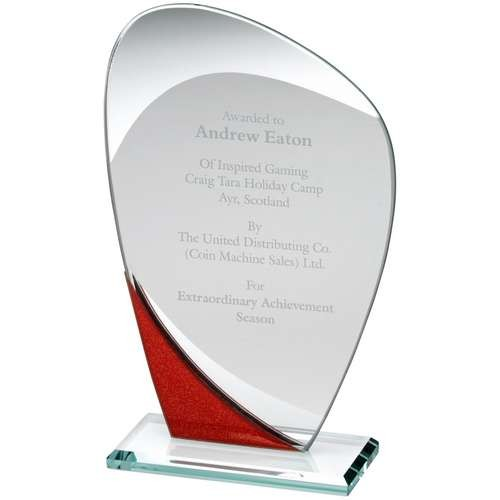 16.5cm Jade Glass Curved Plaque With Red/Silver Detail