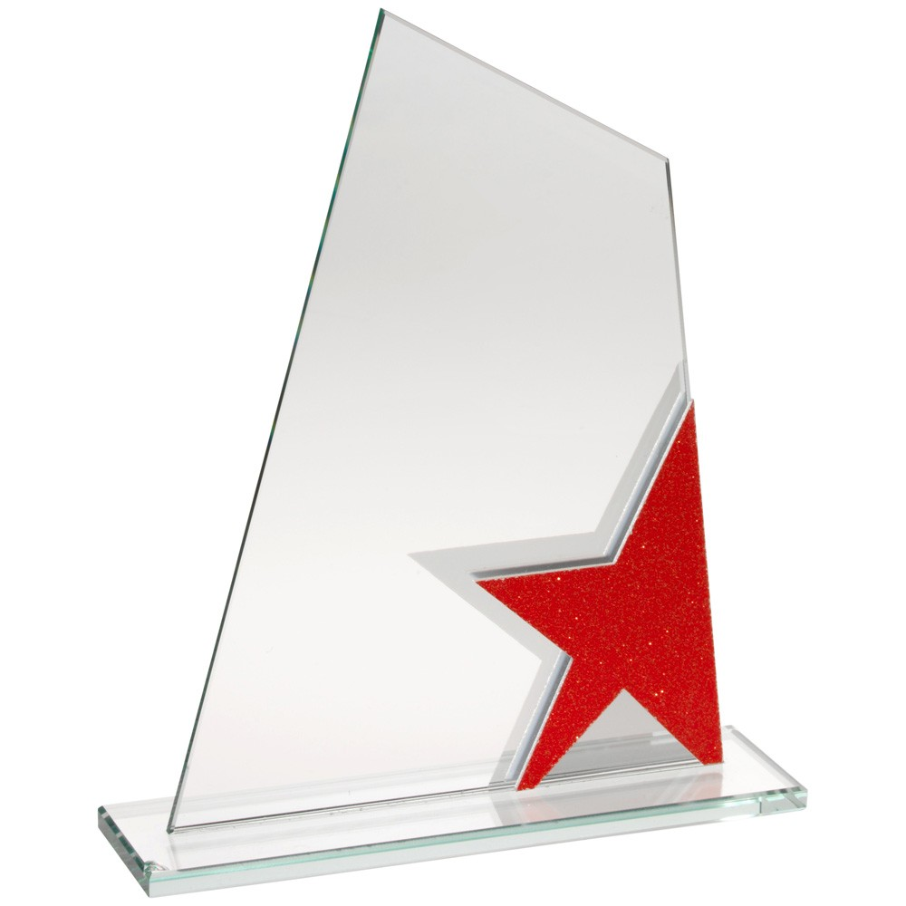 Jade Glass Plaque With Red/Silver Star Detail - 6.5 inch