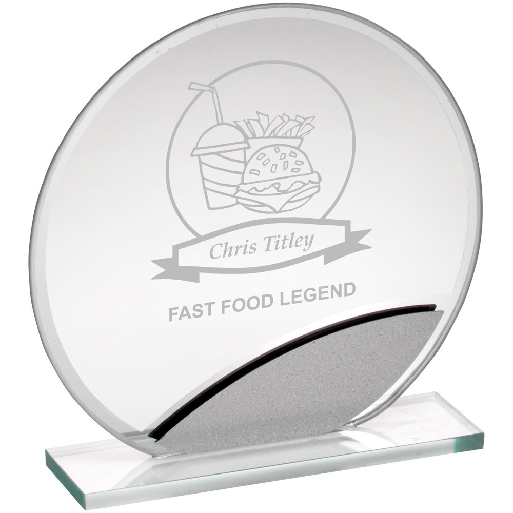 Jade Glass Round Plaque With Silver Highlights