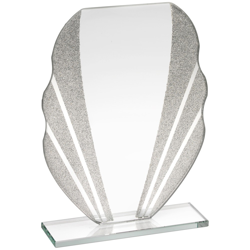 Jade Glass Plaque With Silver Glitter Detail - 6.5 inch