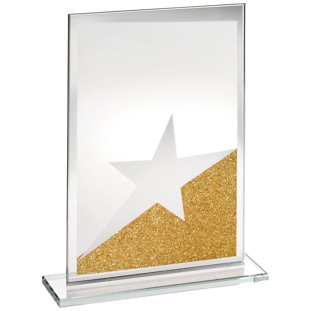 Jade Glass Rectangle Plaque With Gold/Silver Glitter Detail - 6.5 inch