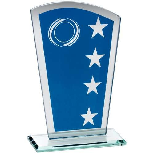 Blue/Silver Printed Glass Shield With Wreath/Star Design - Available in 3 Sizes