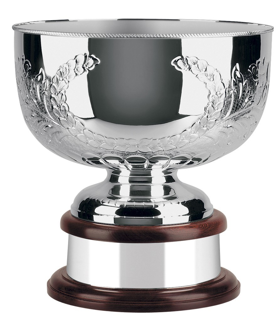 30.5cm Hand Chased Silver Plated World Cup Bowl with Scalloped Edge