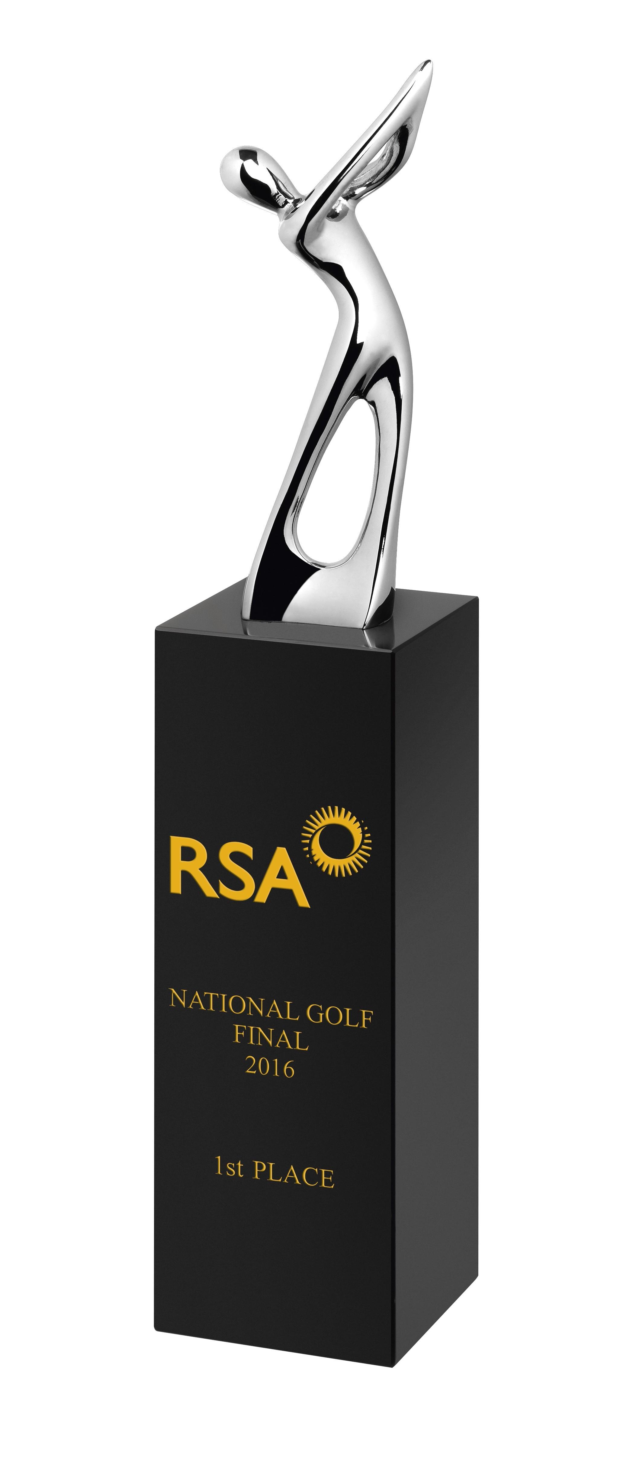 22cm Blk Crystal and Metal Golfer Award