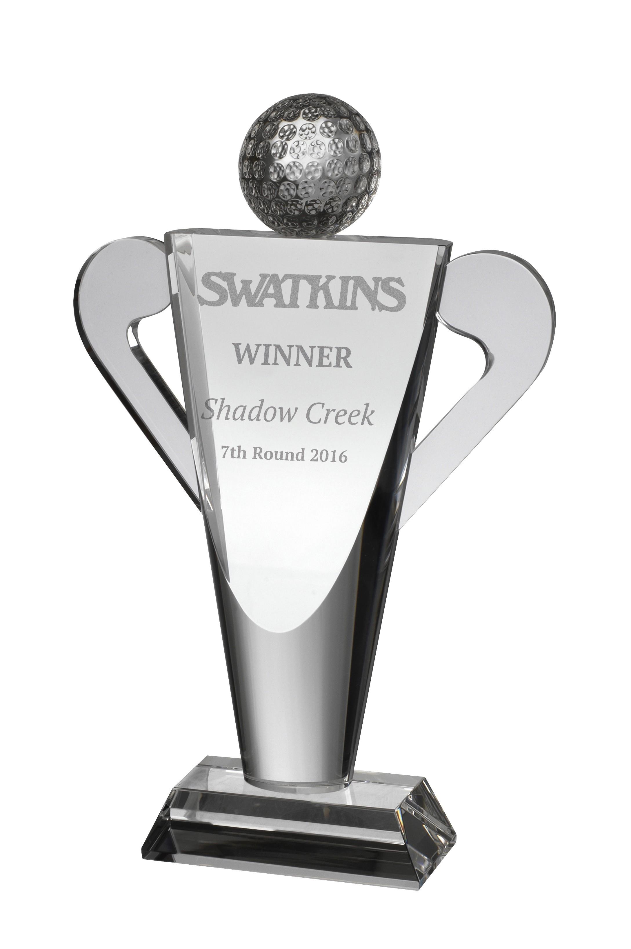 22cm Clear Crystal Golf Award in Box