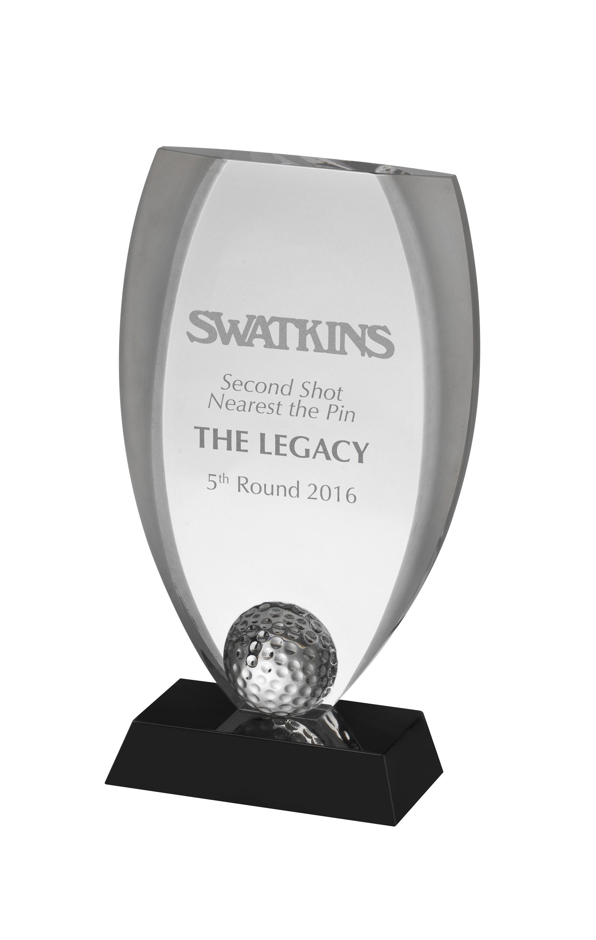 Clear & Black Golf Award in Box