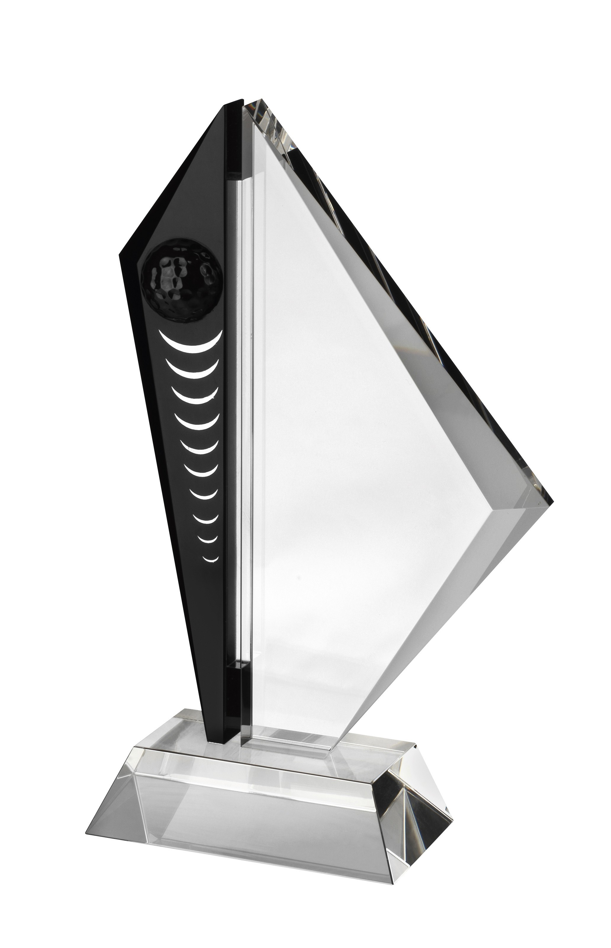 20.5cm Clr & Blk Crystal Golf Award in Box
