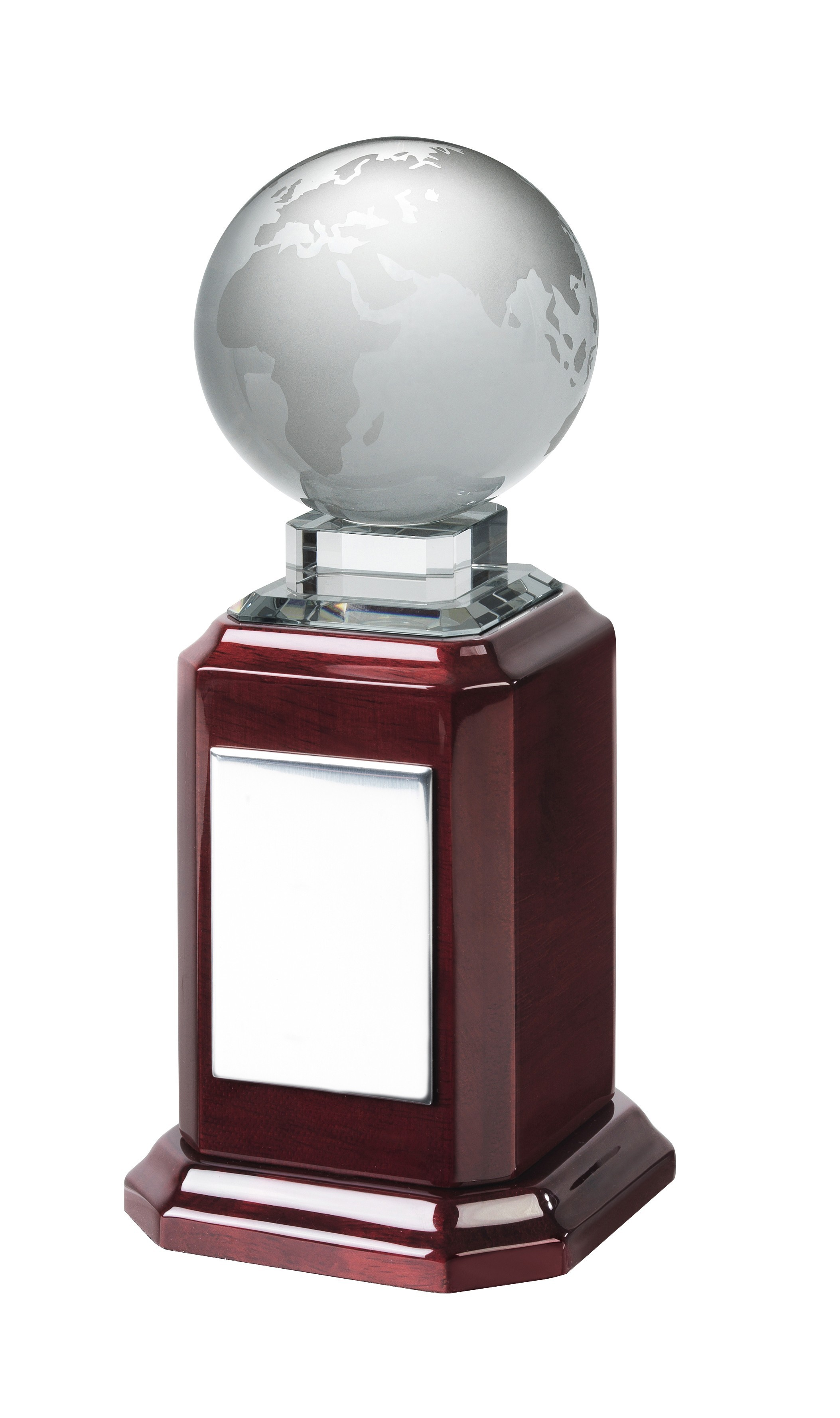 20cm Crystal Globe on Piano Wood Base
