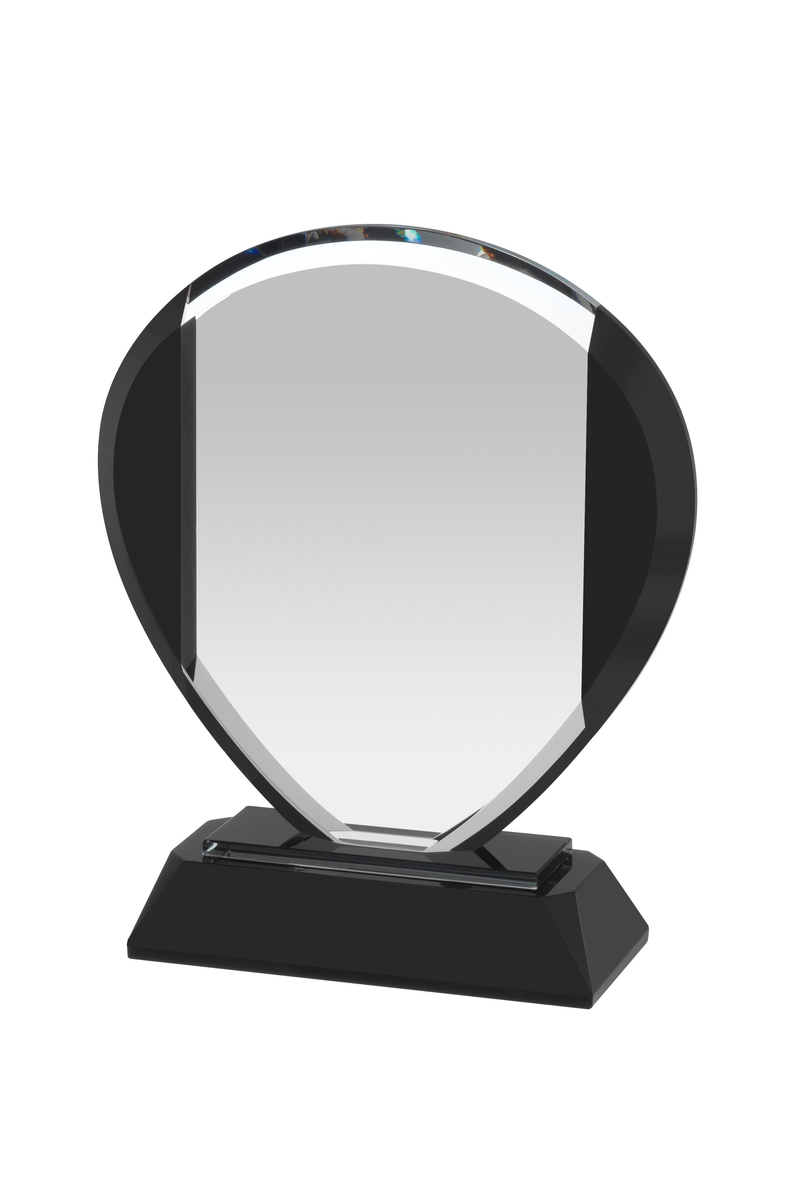 15cm Clear & Black Crystal Award in Box