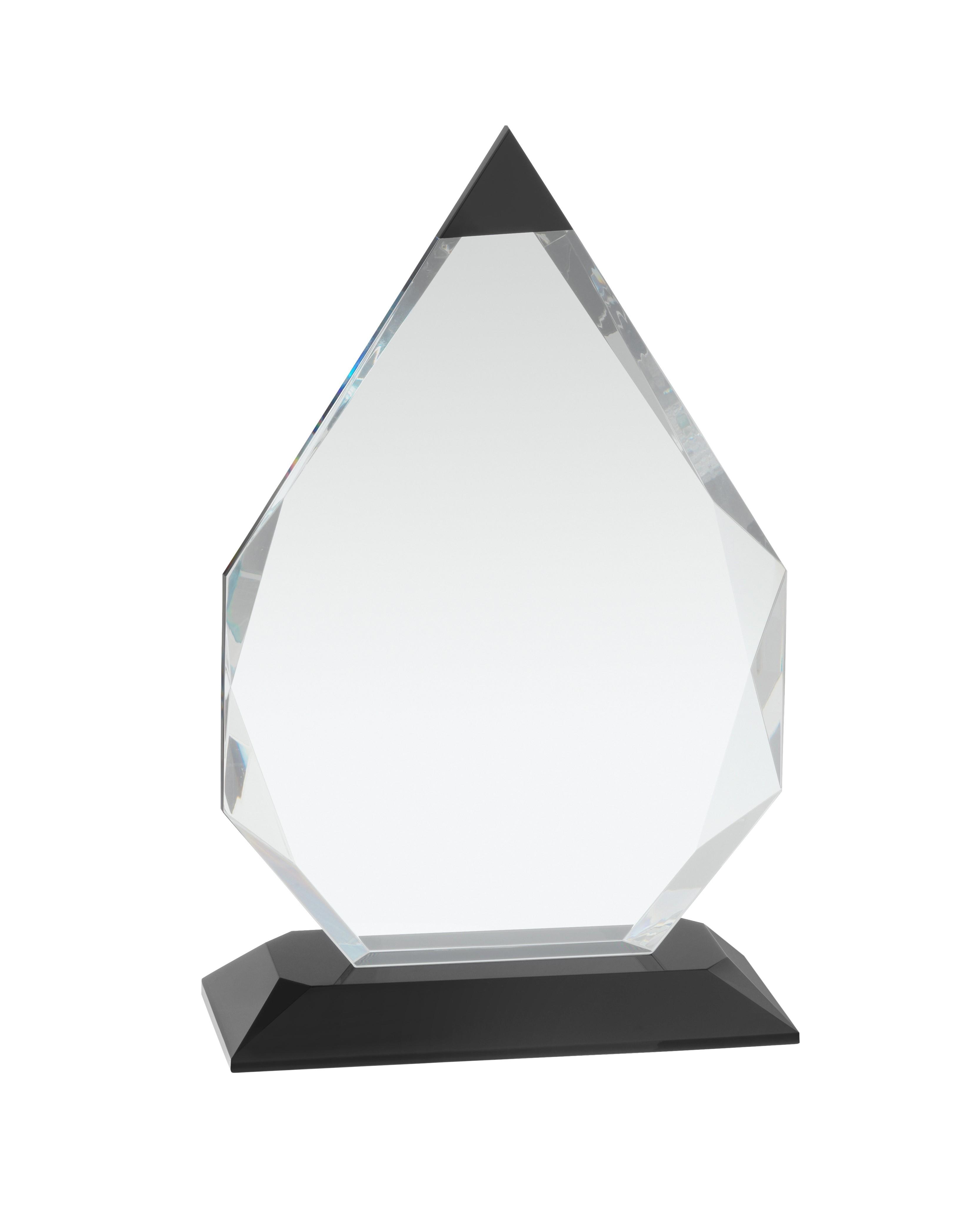 20cm Clear & Black Crystal Award in Box