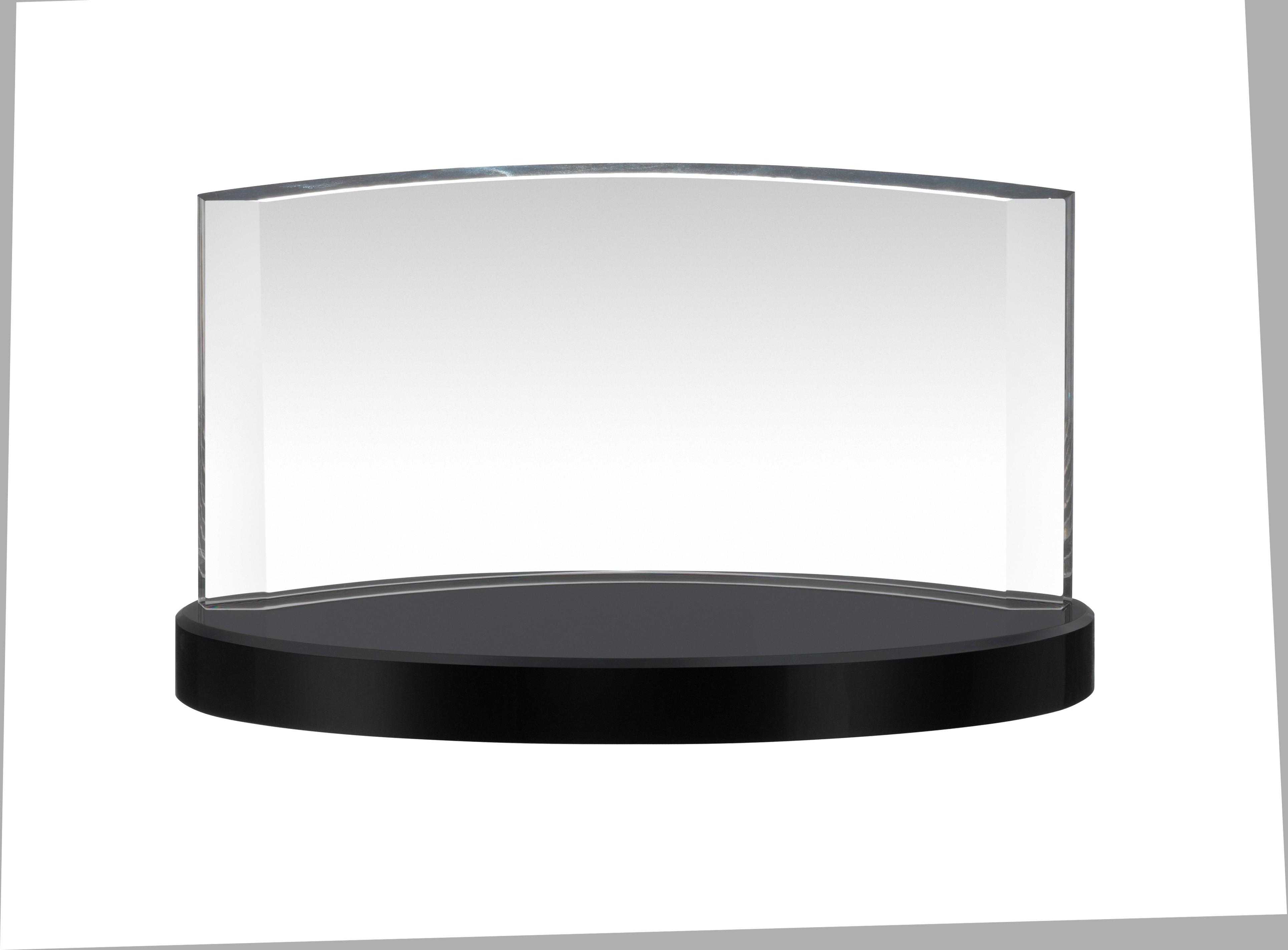 7x12.5cm Clear & Black Crystal Award in Box