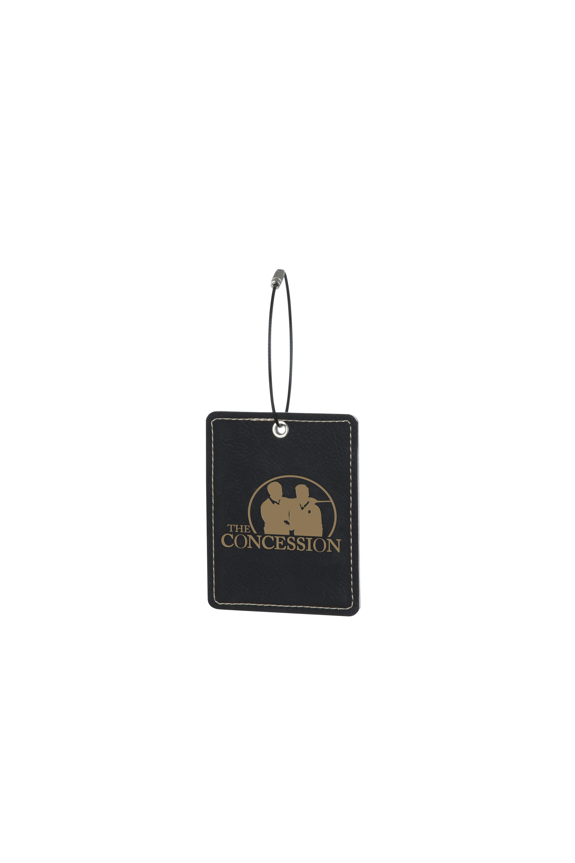 Leatherette Oblong Black Bag Tag