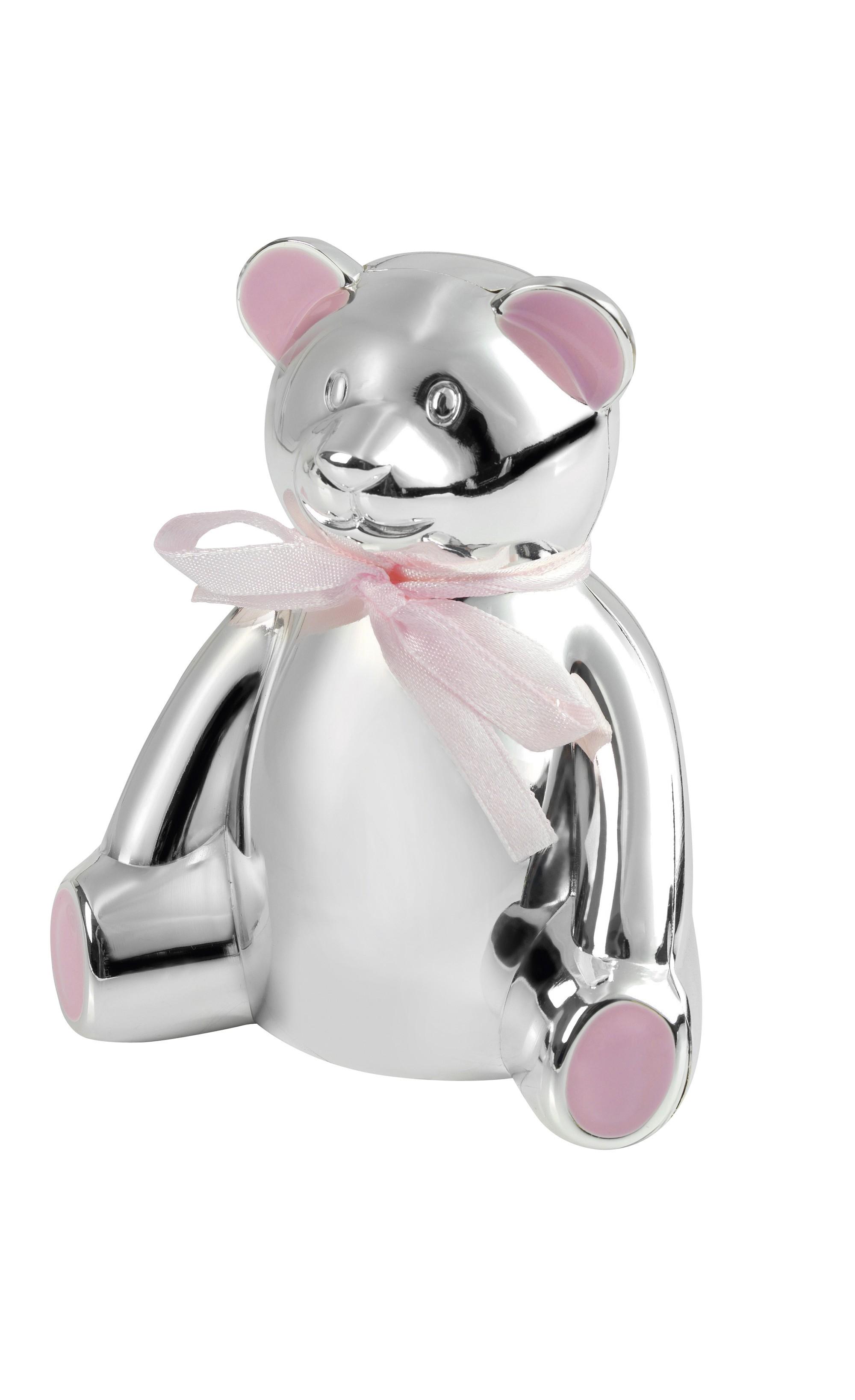 10cm Teddy Bear Money Box Pink Bow