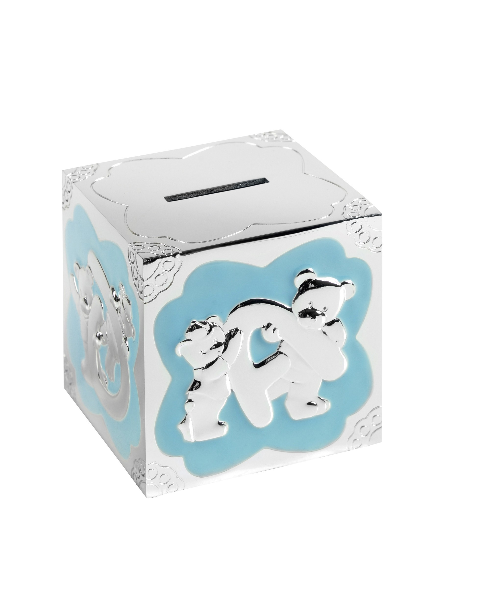 7cm Blue Enml Teddy Cube Money Box
