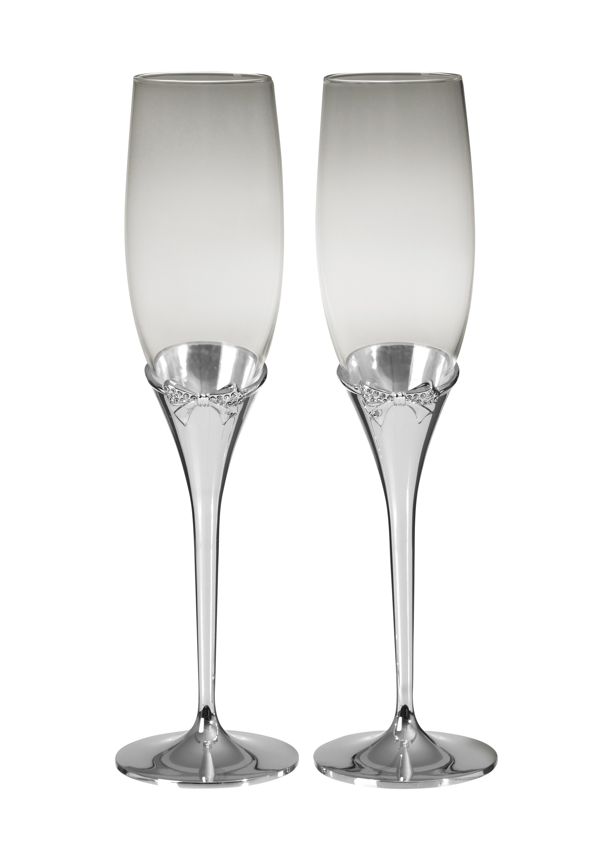 25cm Crystal bow C/Flutes S/Plated Stem