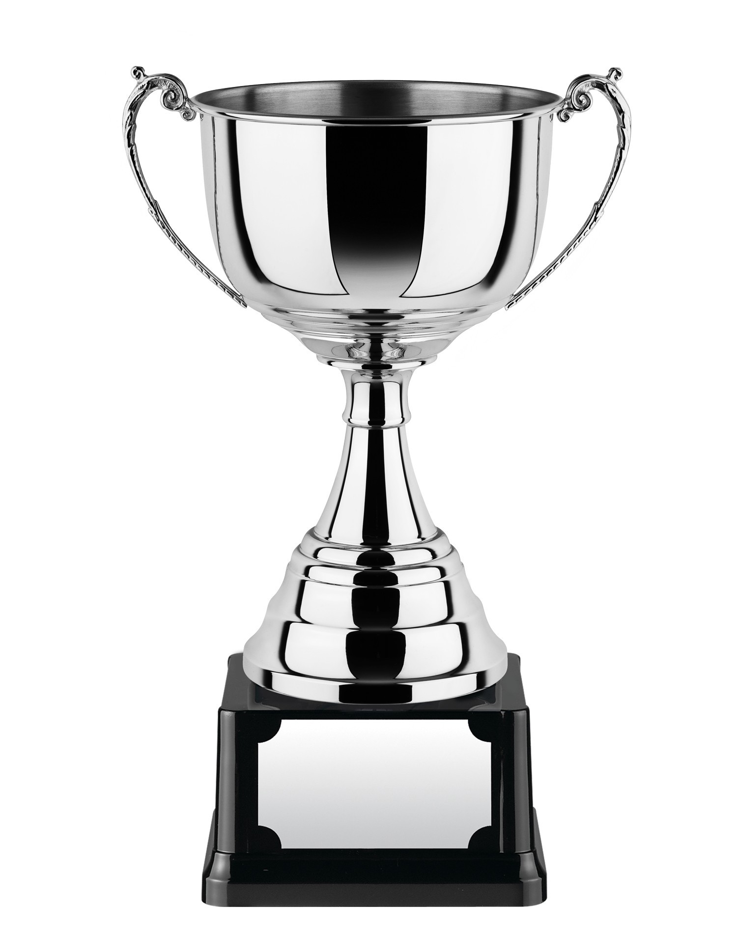 Nickle Plated Cup with Traditional Handles on Heavy Base