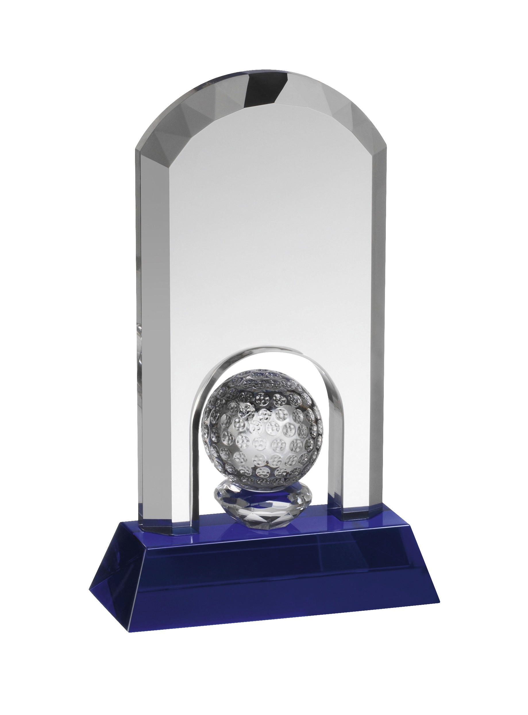 13.75cm Clear and Blue Crystal Golf Award in Box