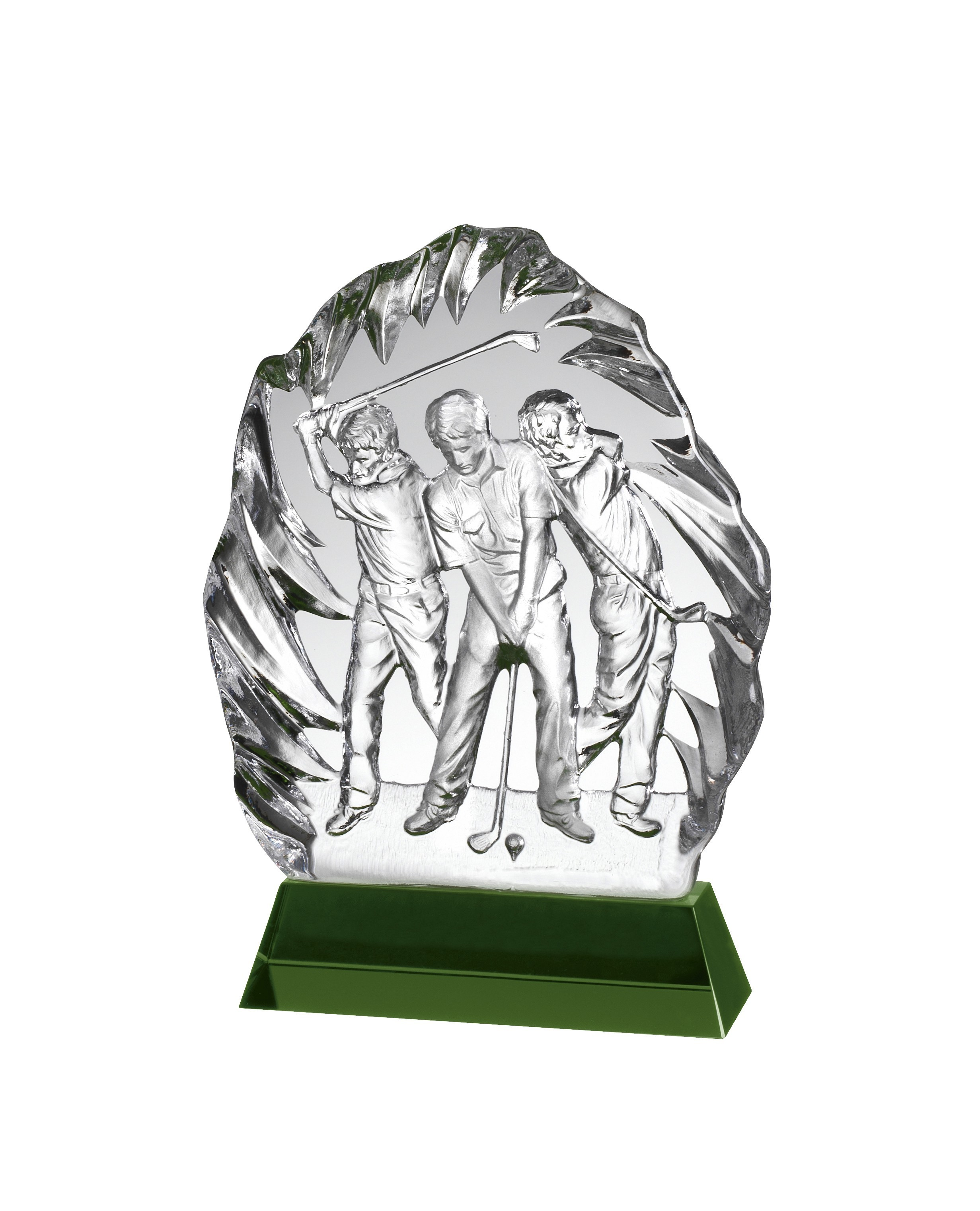 13.5cm Clear and Green Crystal Golf Award in Box