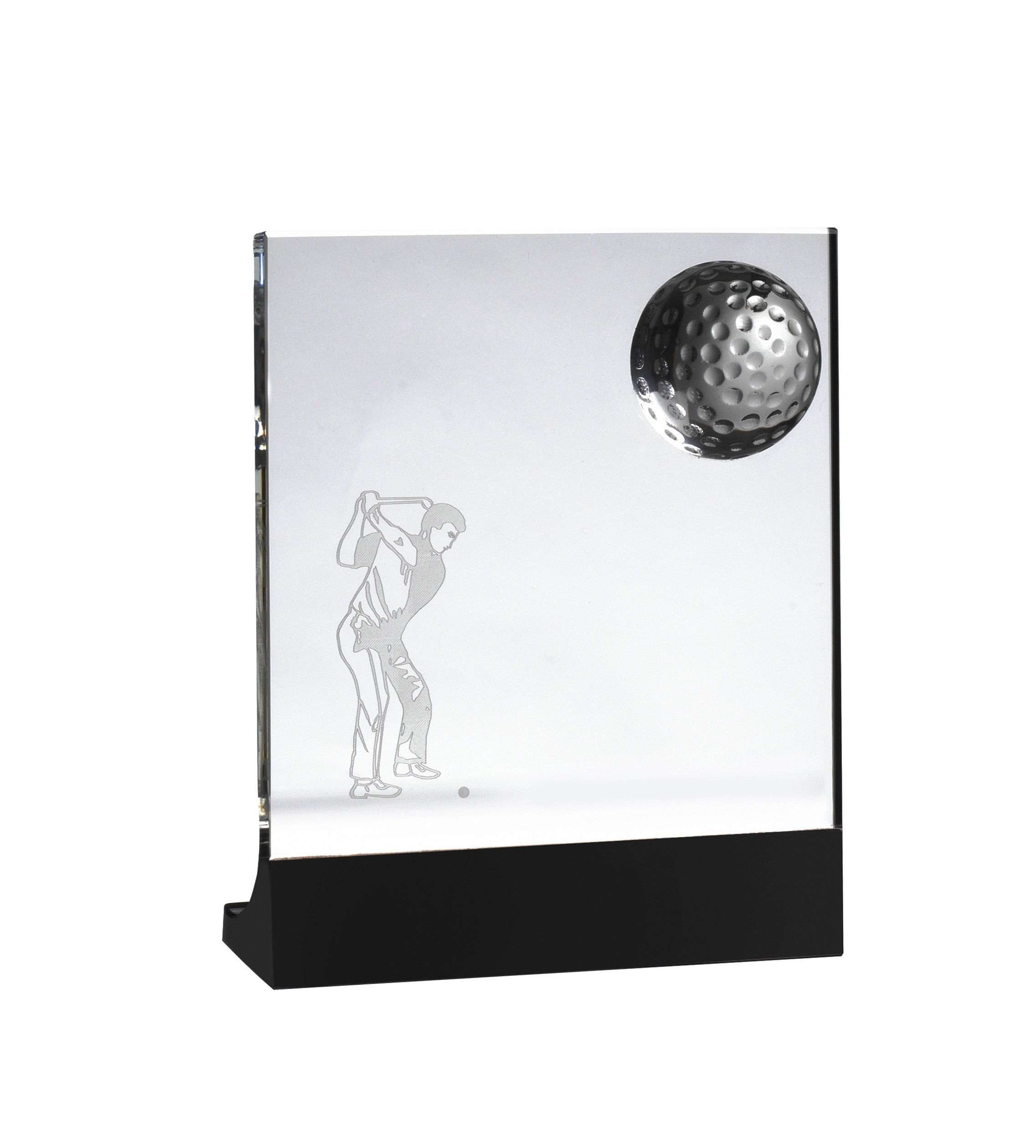 Clear and Black Crystal Golf Award in Box