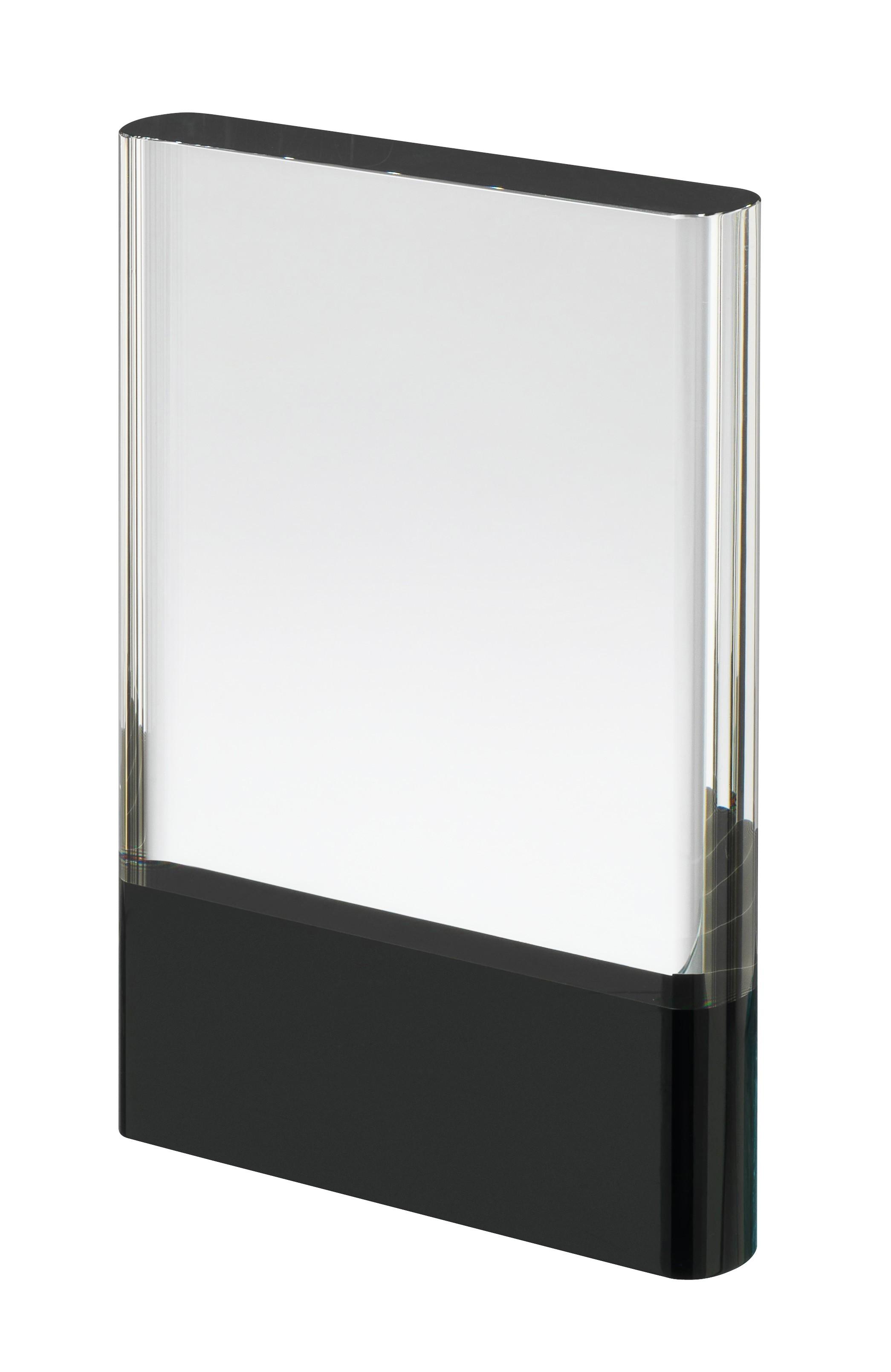 17.5cm Clear & Black Crystal Award in Box