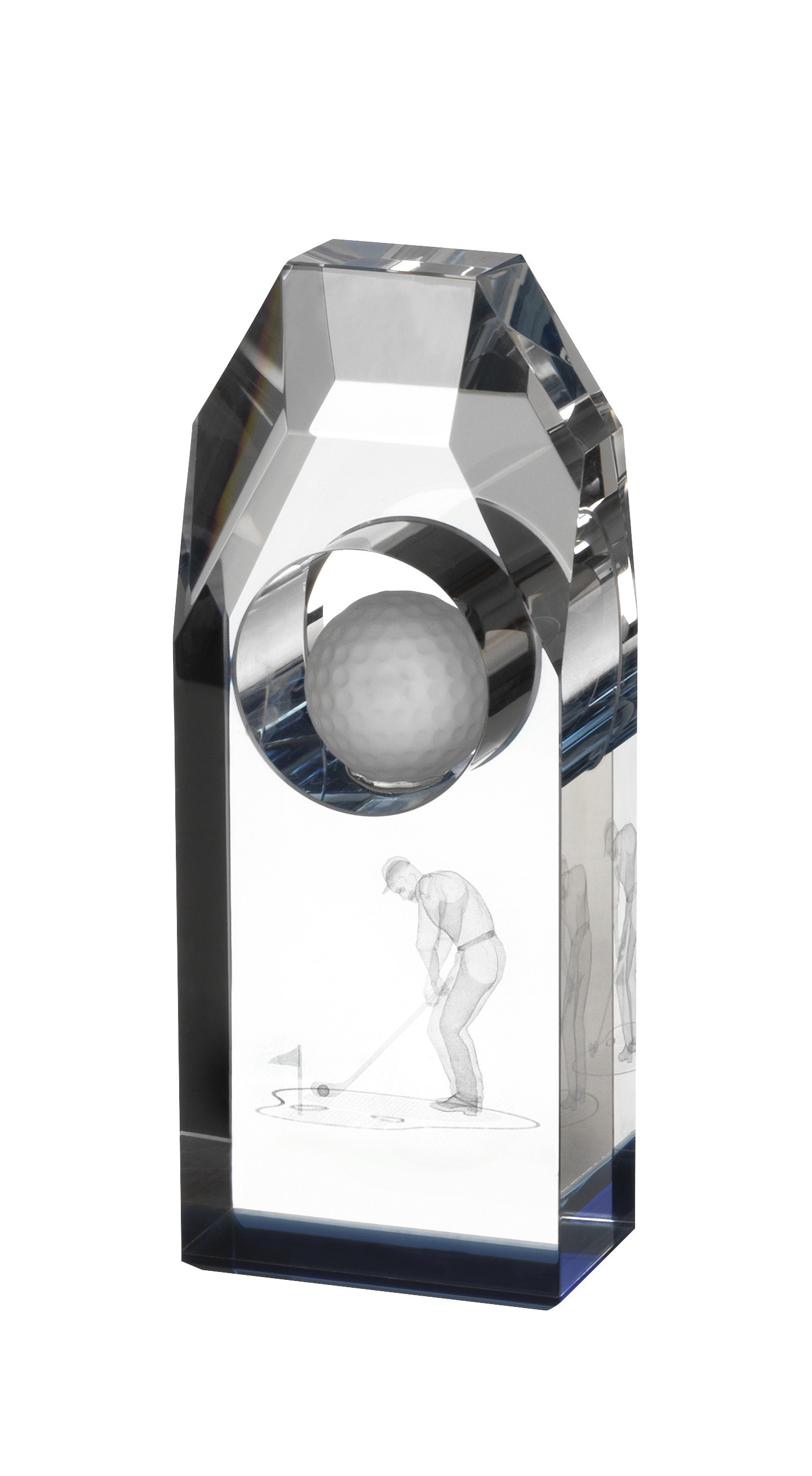 15.5cm Clear and Blue Golf Award in Box