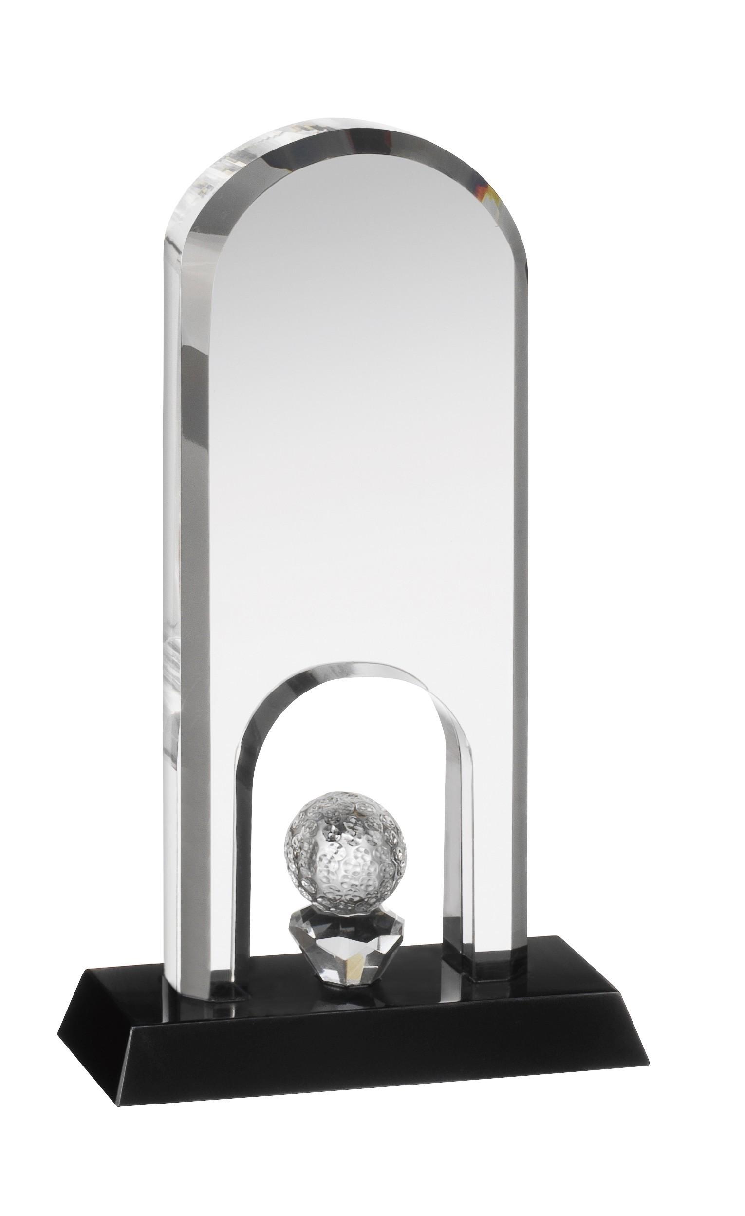 Clear & Blk Crystal Golf Award in Box
