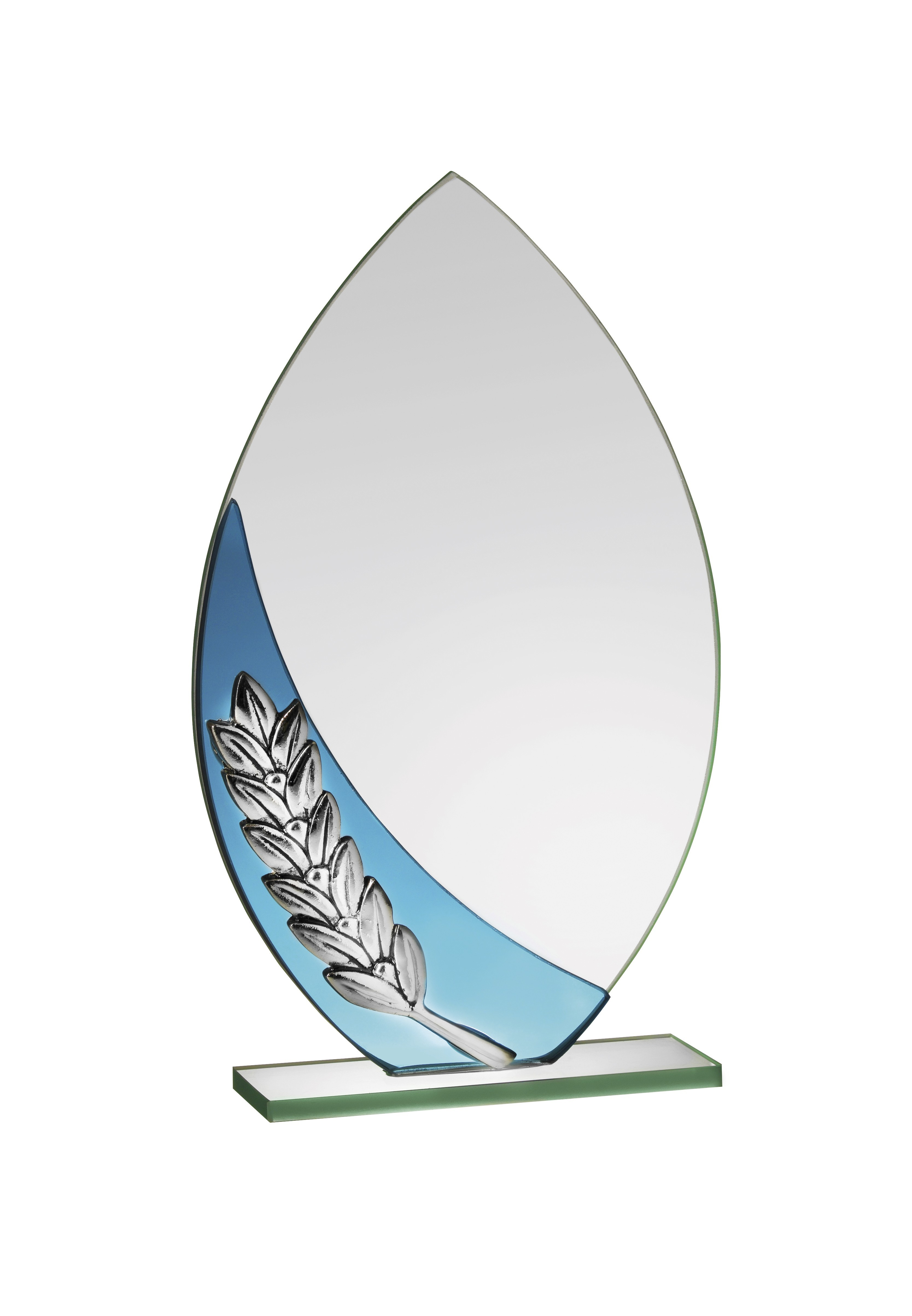 Oval glass award with silver laurel on an aqua wave