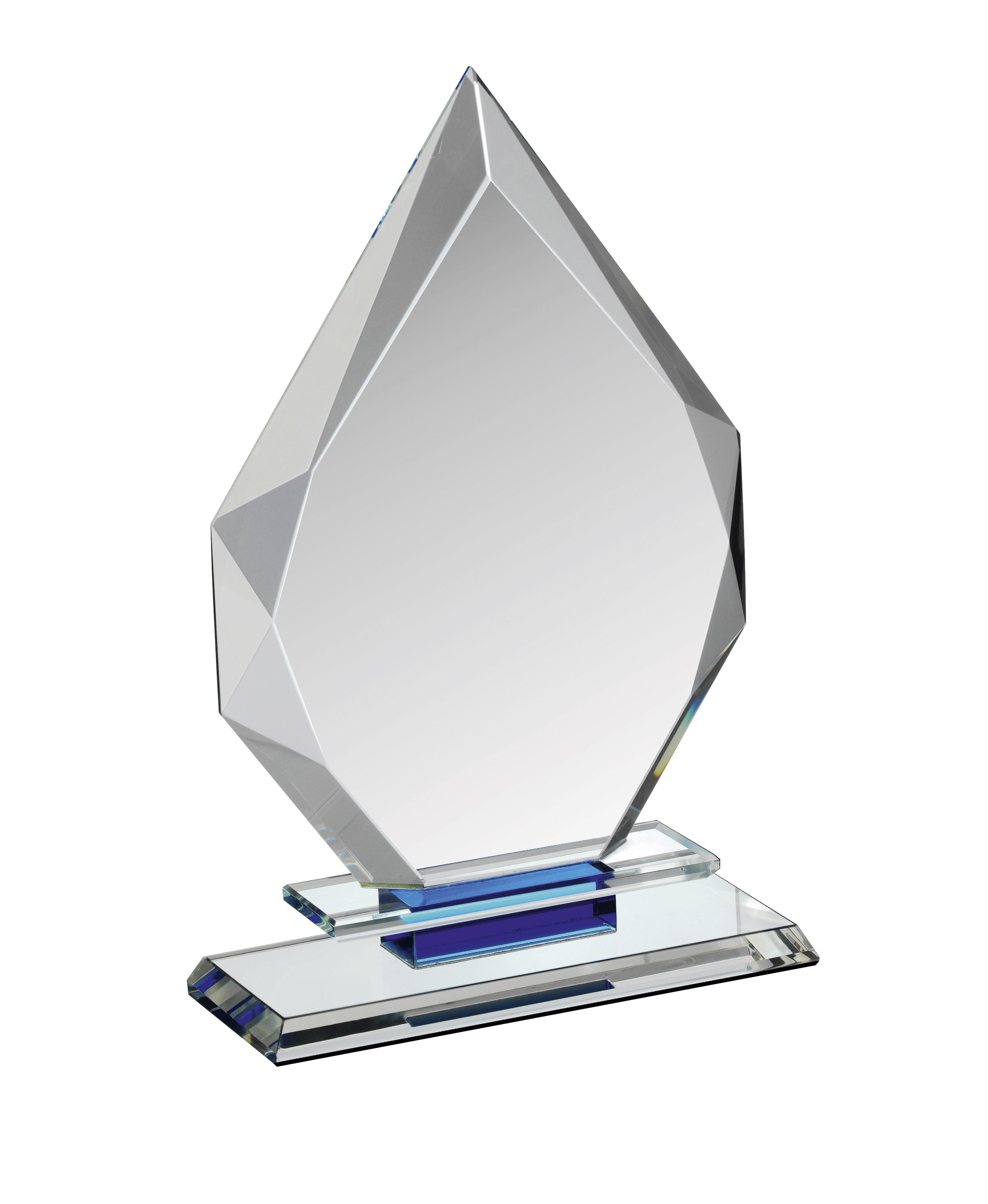 17.5cm Clear & Blue Crystal Award in Box