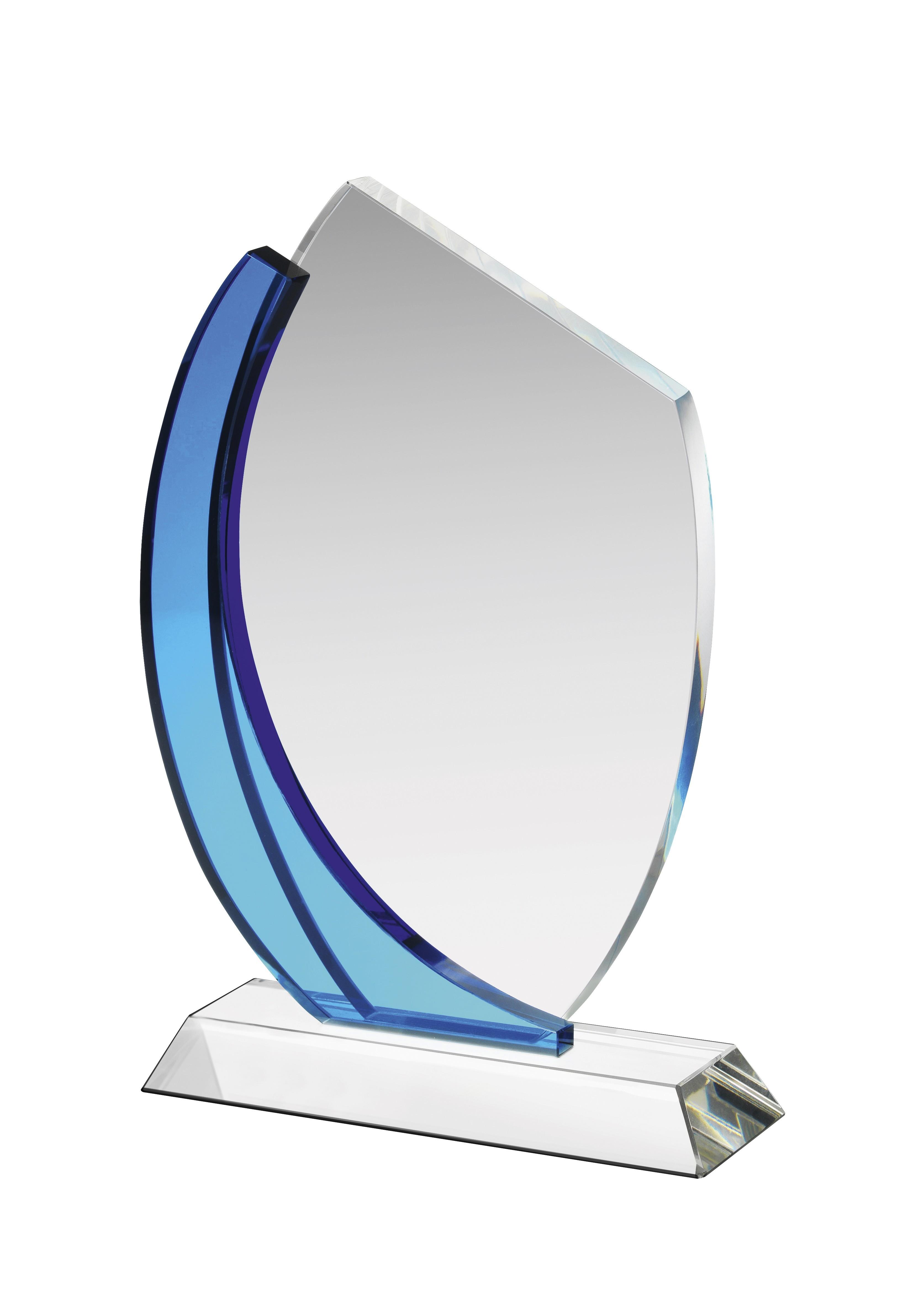 18cm Clear & Blue Crystal Award in Box