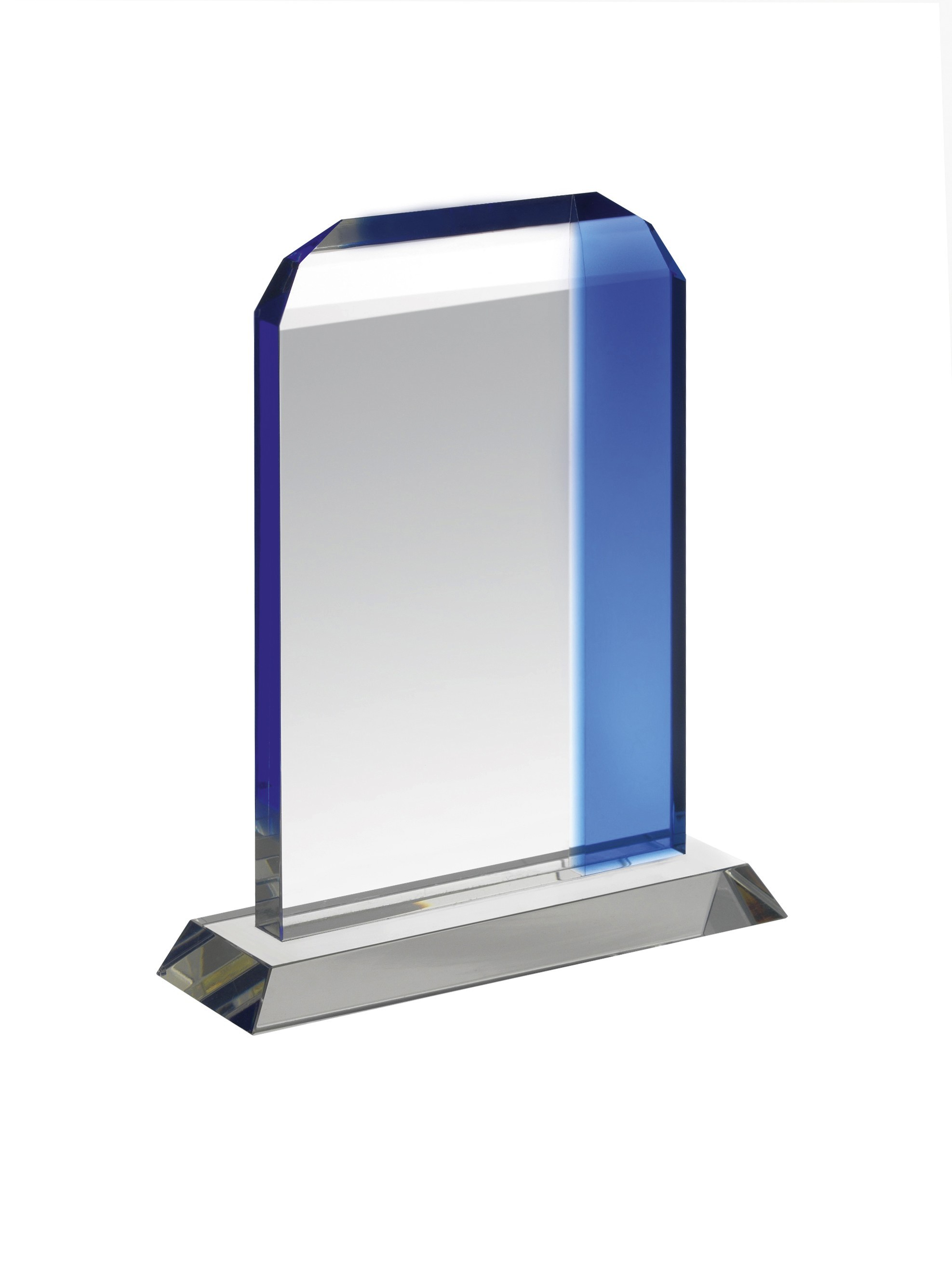16.25cm Clear & Blue Crystal Award in Box